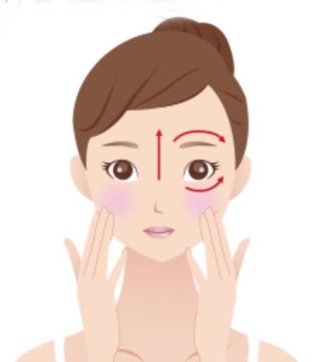 Step3:以指尖輕柔按壓眼周與嘴角比較容易乾燥的地方